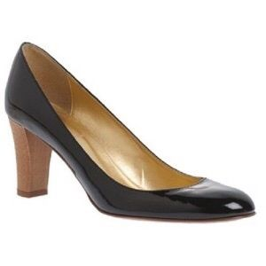 J. Crew Juliet patent leather wood heel pumps